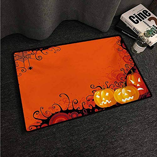 HCCJLCKS Bedroom Doormat Spider Web Three Halloween Pumpkins Abstract Black Web Pattern Trick or Treat Suitable for Outdoor and Indoor use W35 xL47 Orange Marigold Black]()