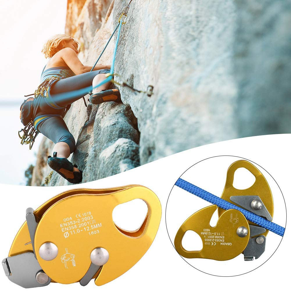 Ponacat Climbing Stop Descender Rope Descender Clamp Rope Grab Self-Breaking Stop Rope Descender Rope Grab Stopper Peak Gear for Mountaineering Rappel Ring Climbing Gear