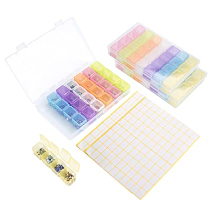 Caja de bordado de diamante 3 paquete 28 compartimentos, colorido extraíble plástico caja de almacenamiento
