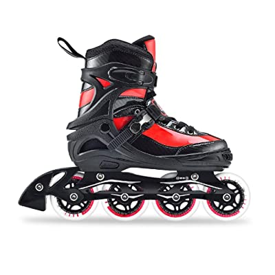 Inline Skates Adjustable, Skates with Wheels Light, Value Performance, Adult Fitness Black and Red Rollerblades : Sports & Outdoors