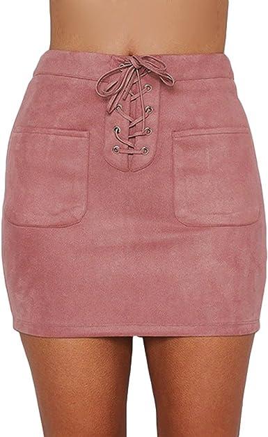 ALIKEEY Slim Fit Band Cintura Alta Falda Fashion Ladies Casual ...