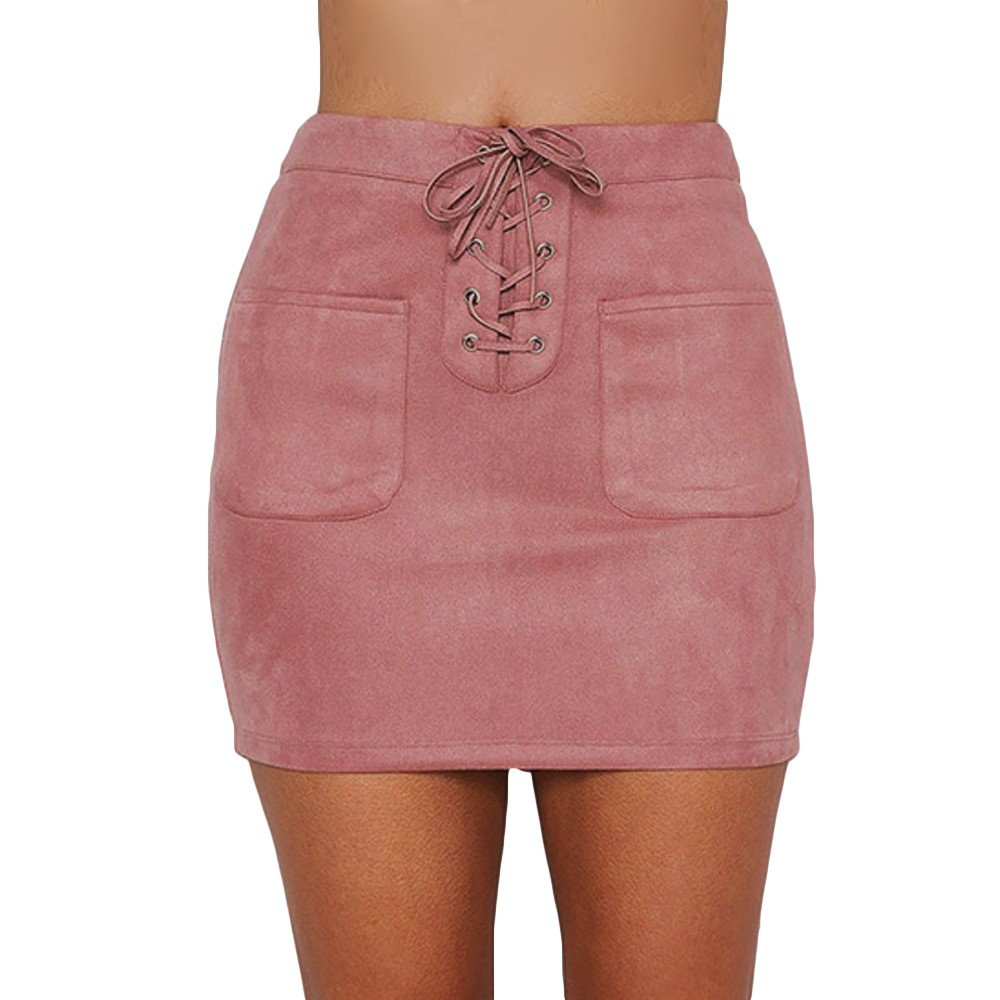 HITRAS Dress Clearance! Fashion Women Casual Bandage Skirt High Waist Suede Girl Cute Skirt (XL, Pink) at Amazon Womens Clothing store: