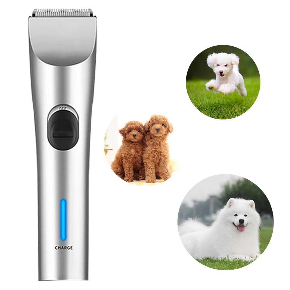 Triumilynn Dog Silent Shavers Groomer, Low Noise Rechargeable Cordless Pet Hair Clippers, Cat Trimmer with Safety Blade, 4 Size Combs Attachment, for Small Medium and Large Dogs Cats