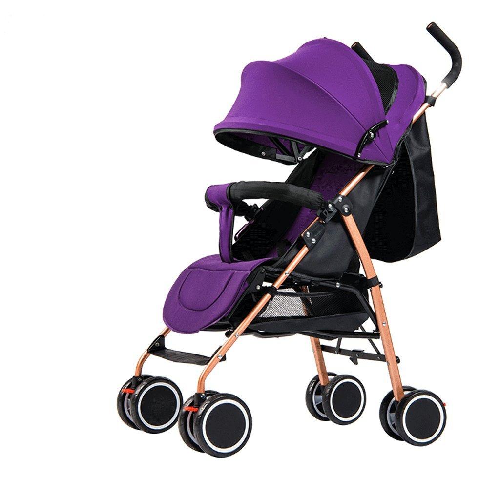 赤ちゃんのベビーカー超軽量ポータブル折りたたみリクライニングチャイルドトロリー(バーガンディ)(紫)60 * 47 * 100cm ( Color : Purple ) B07BW45WJY