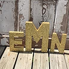 gold glitter stand up decorative monogram letters anniversary wedding reception