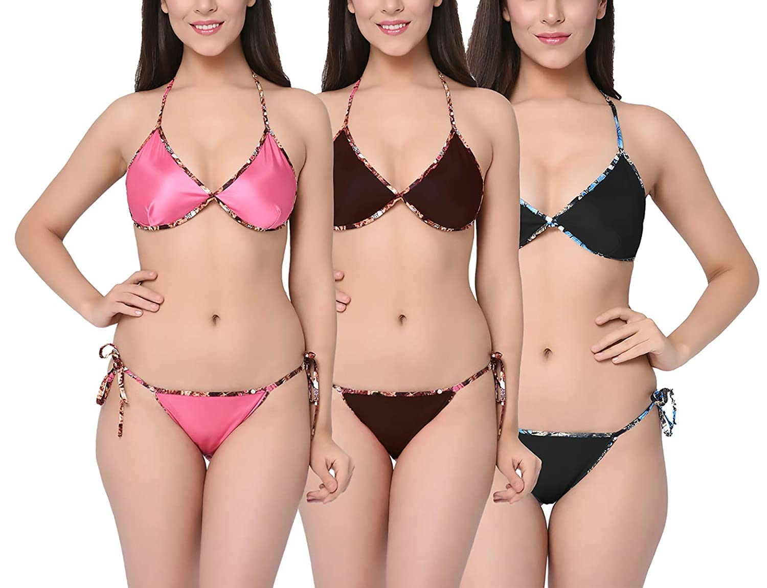 1ed7d48627737 Xs and Os Pack of 3 Women Satin Bra Panty Lingerie Set (Pink