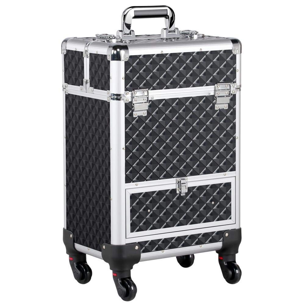 Yaheetech Aluminum Cosmetic Case Rolling Makeup Train Case - 360-Degree Rolling Wheels Barber Salon Lockable Travel Case Trolley with Sliding Drawers Removable Divider Black