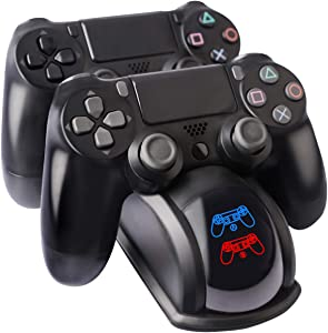 PS4 Controller Charger, Dual USB PS4 Controller Charging Station Dock for Sony Playstation4 / PS4 / PS4 Slim / PS4 Pro Controller, with LED Light Indicators and Charging Cable