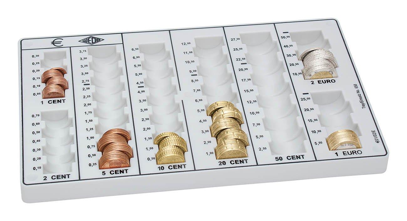 f/ürGeldkassette Europa /& Z/ählbrett 160958049, 26,2 x 16 x 3 cm lichtgrau Wedo 161658000 Ersatz M/ünzeinsatz