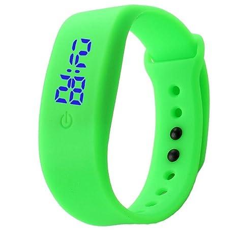 Tongshi Para mujer hombre del reloj de goma LED Fecha Deportes reloj digital pulsera (Verde
