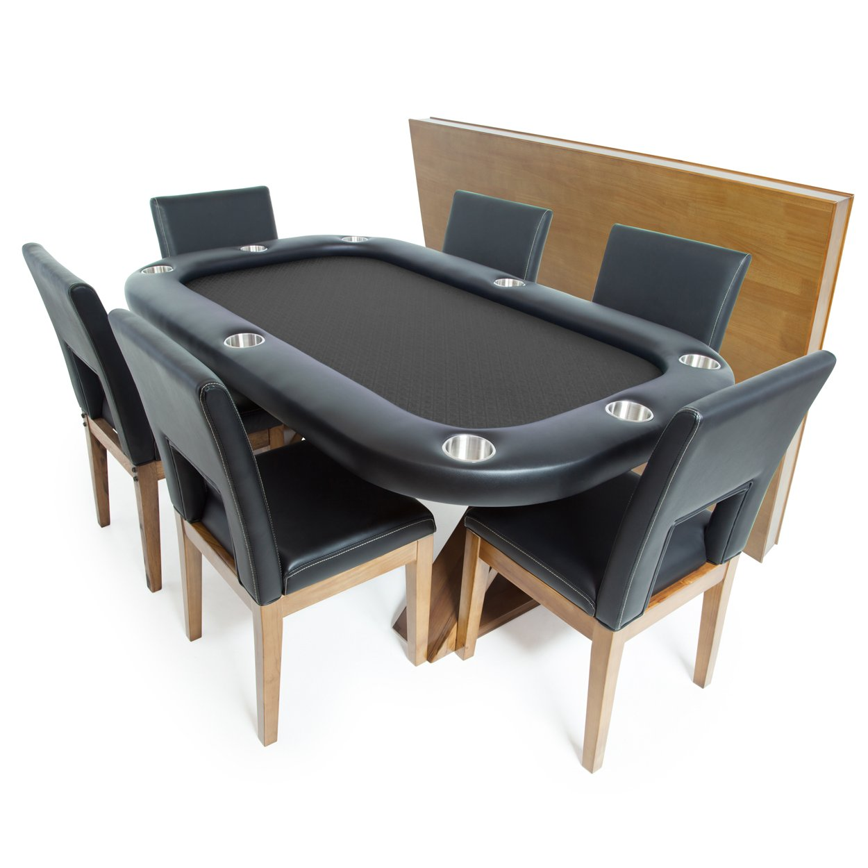 BBO Poker Helmsley Poker Table for 8 Players with Black Speed Cloth Playing Surface, 72 x 46-Inch, Includes Matching Dining Top with 6 Dining Chairs by BBO Poker