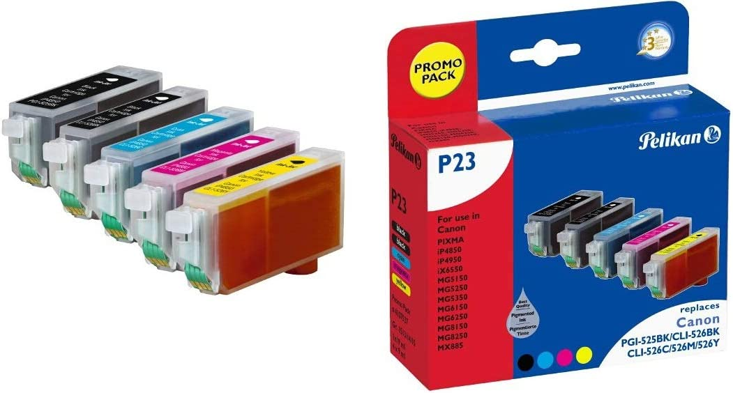 Pelikan Druckerpatronen Ersetzen Canon Pgi 525pgbk Cli 526bk Cli 526c Cli 526m Cli 526y Promo Pack Bürobedarf Schreibwaren
