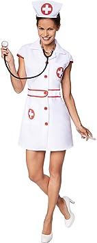 TecTake Disfraz para Mujer de Enfermera | Parte Delantera, con ...