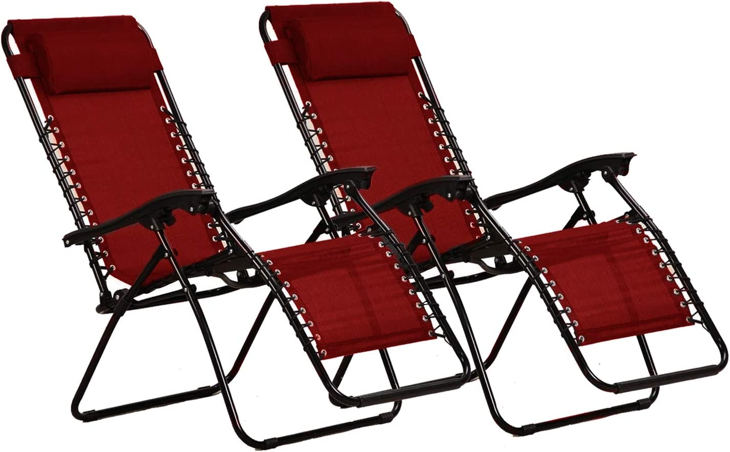 KEPLIN Set of 2 Heavy Duty Textoline Zero Gravity Chairs | Garden Outdoor Patio Sun Loungers | Folding Reclining Chairs | Lounger Deck Chairs (RED)