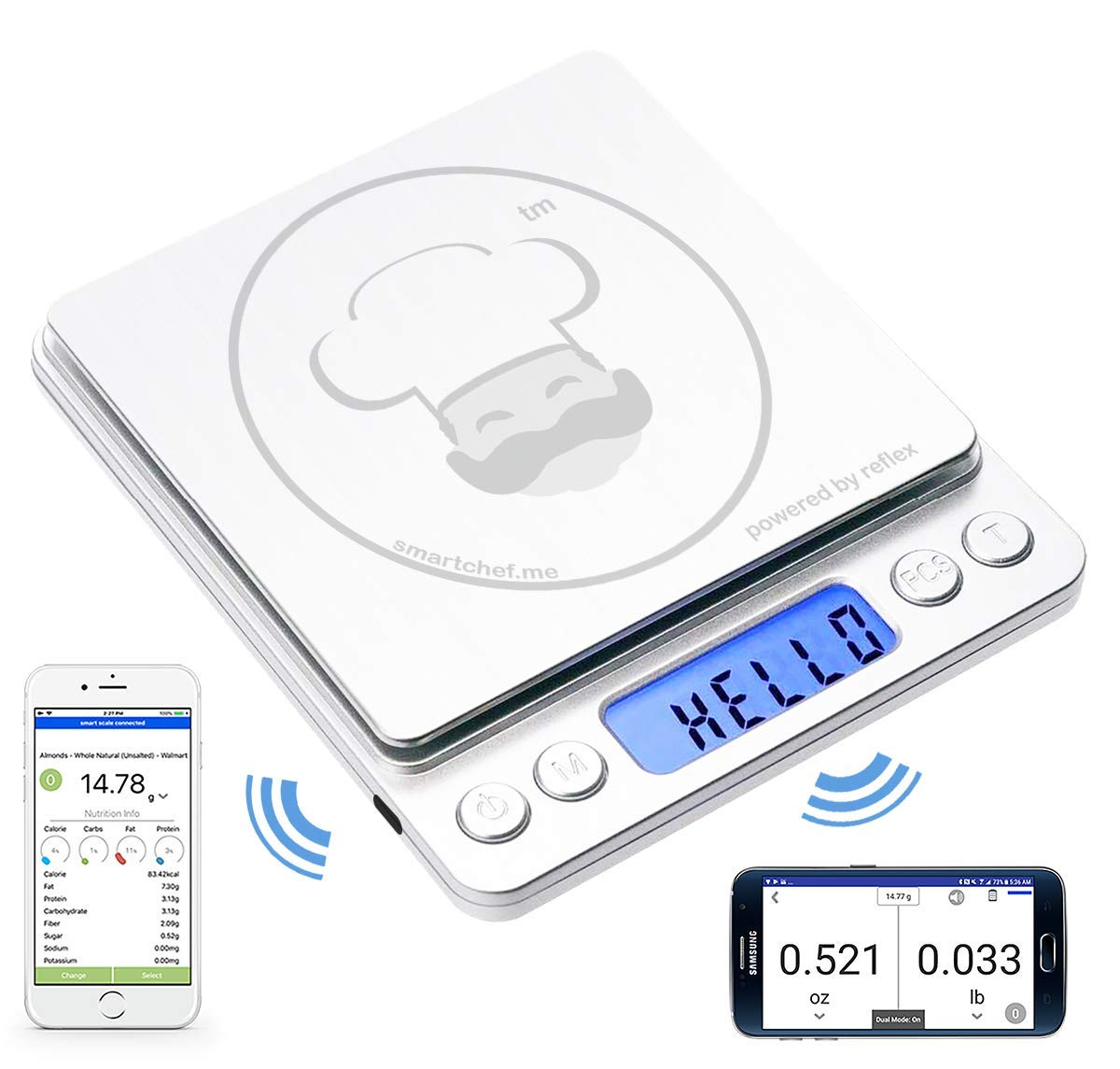 reflex 500g / 0.01g Digital Pocket Bluetooth smart food kitchen Scale grams and ounces USB rechargeable, portable, accurate, metal stainless steel surface, nutritional keto calculator, baking, counter