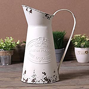 APSOONSELL French Style Country Primitive Jug Rustic Metal Pitcher Flower Vase for for Home Decoration Cream