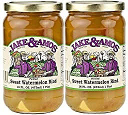 Jake and Amos Pickled Sweet Watermelon Rind Jars, 16 Ounce