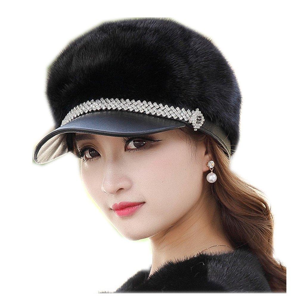 MH Bailment New Mink Fur Winter Korean Outdoor Fur Ladies Mink Hat Duck Tongue (57CM, Black)