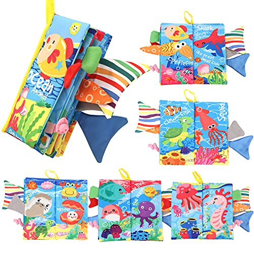 Soft Cloth Books for Babies, Byson Early Educational Baby Cloth Books Touch and Feel Tail Crinkle Soft Cloth Books Toys, Infants & Toddler Toys Girls & Boys Gifts (Ocean Animals Tail - 1 Book)