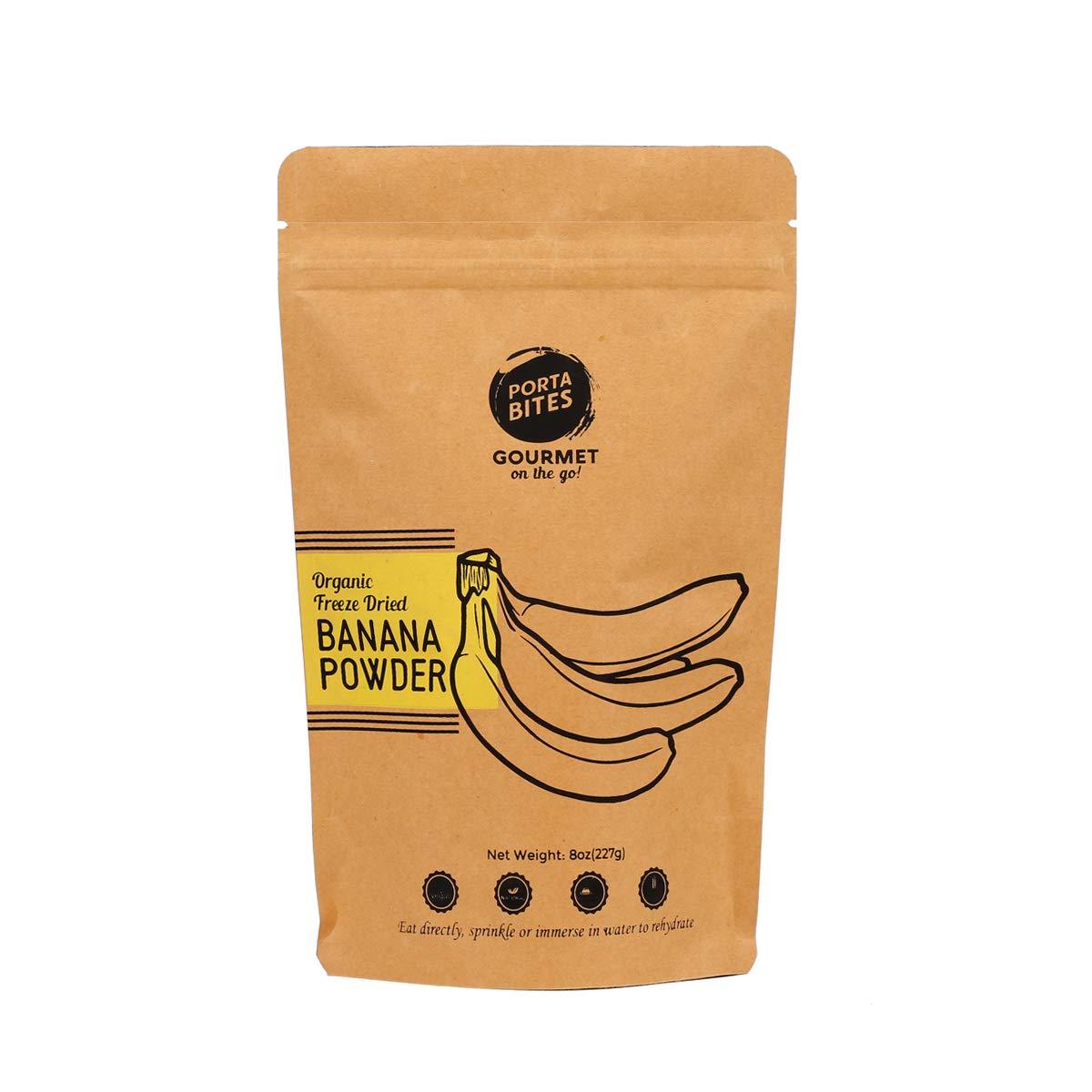 PORTA BITES Organic Freeze-Dried Banana Powder, All Natural, Gluten-Free, Vegan Source of Fiber & Vitamins, Survival Food (8oz)