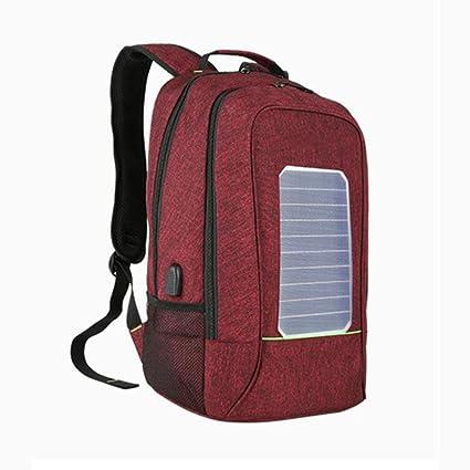WYXIN Nueva Mochila Solar Bolsa de Cargador USB 16 Pulgadas Estudiante Mochila Portátil Bolsa Impermeable para