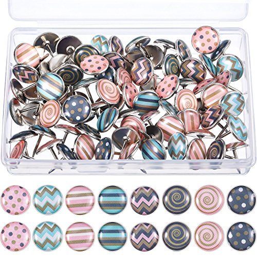 TecUnite Creative Fashion Push Pins Decorative Thumbtacks for Wall Maps, Photos, Bulletin Board or Cork Boards, 8 Different Patterns, 80 Pieces (Multicolor B)