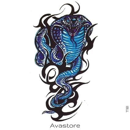 Tatuaje Temporal serpiente Cobra tatuaje efímero serpiente Cobra ...