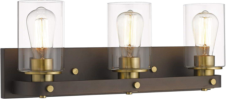Emliviar 3 Light Vanity Light Vintage Bathroom Lights Over Mirror Oil Rubbed Bronze And Gold Finish Yce1901 3w Orb Bg Amazon Com