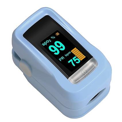 Oxímetro de Dedo GRDE, Medidor de Oxígeno en Sangre y Monitor de Frecuencia Cardíaca con