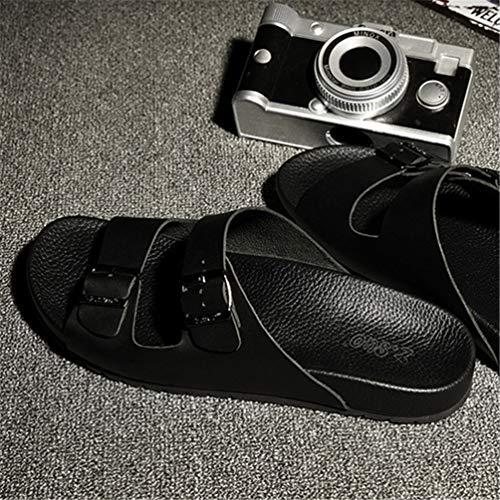 de Zapatillas Hombres de Cuero de de Zapatos Antideslizante Hombres Negro para Sandalias Playa Metal Verano Los Hebilla xqIZ5W