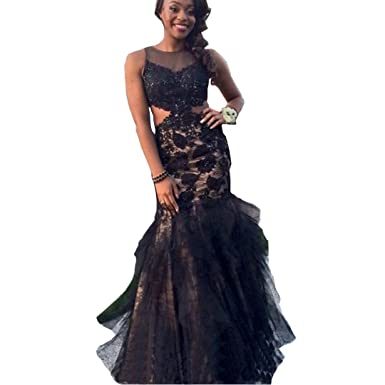 Chady Black Mermaid Prom Dresses 2017 Black Girls Formal Dresses Evening Wear Long Lace Fake 2