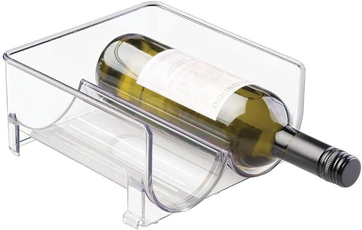 Holds 2 Bottles Clear Free Standing Organizer for Refrigerator or Kitchen Countertops InterDesign Stackable Wine Storage Rack