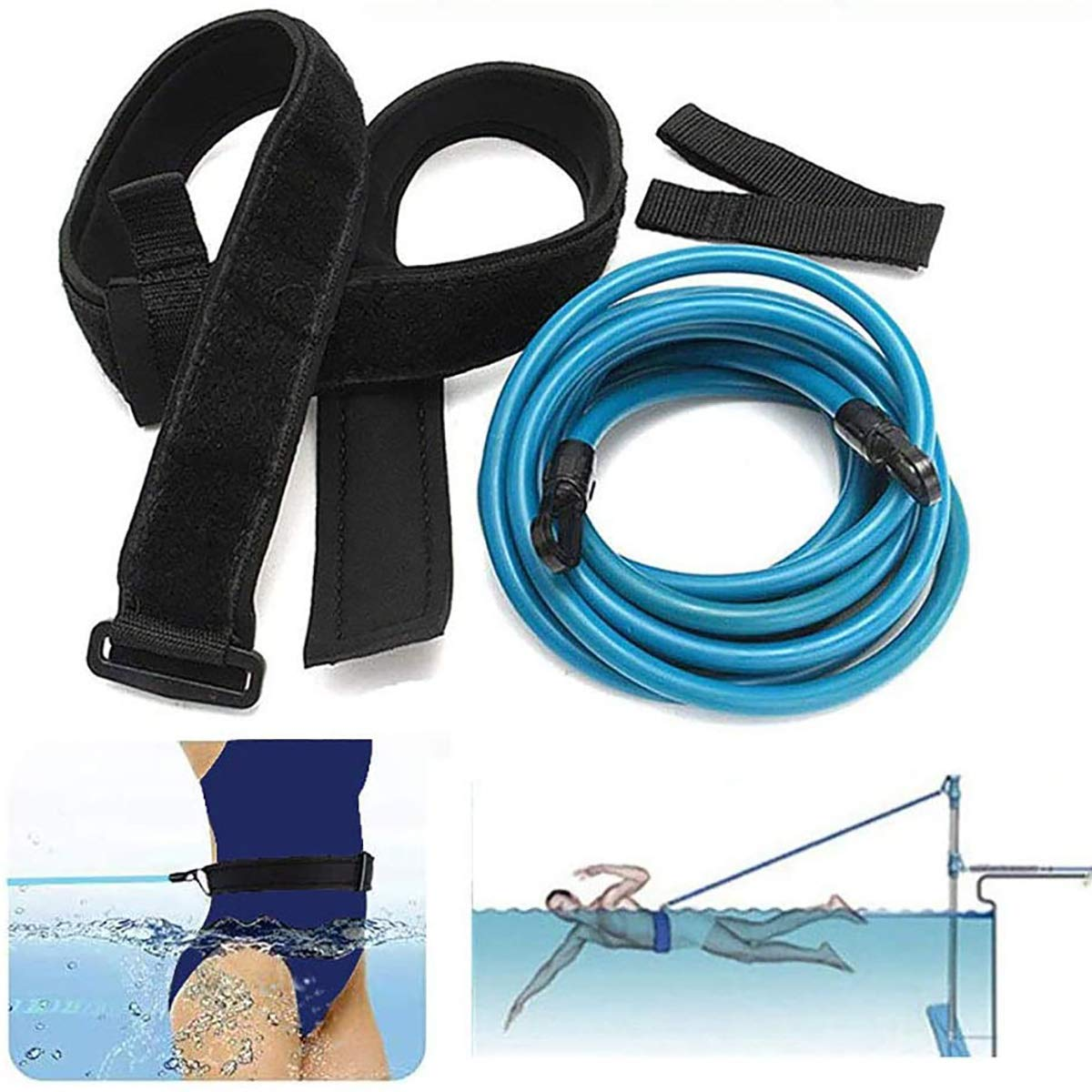 Goodvk Swim Training Belts 4M Swim Trainer Tether Stationary Swimming with Swim Parachute Swim in Place Harness Static Swimming Belt Swim Bungee Cords Resistance Bands (6mm x 10mm x 4m, Blue)