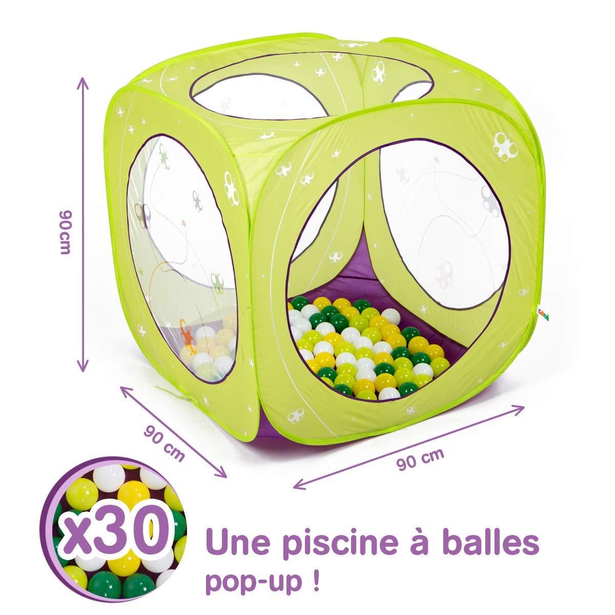 LUDI - Piscine à balles en tissu et structure pop-up 90 x 90 x 90 cm. Dès 12 mois. 30 balles incluses. Se plie et se range dans un sac. Tissu résistant pour une utilisation en extérieur - 2845 product image