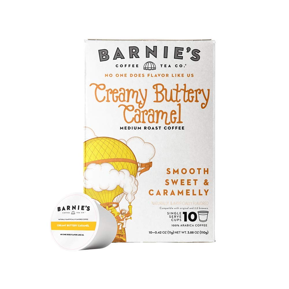Barnie's Coffee & Tea Creamy Buttery Caramel Single Serve Coffee, K Cups for Keurig Brewers, Medium Roast, Arabica Coffee Beans, 10 Single Serve Cups