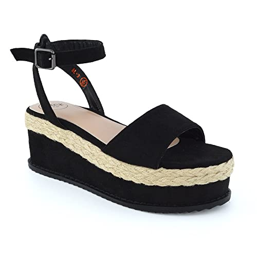 9a9b6b97330d Womens Ankle Strap Wedge Heel Sandals Espadrilles Ladies Peeptoe Flatform  Shoes 3 UK Black Faux Suede