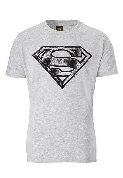 Traktor Camiseta Superman Logotipo - El Garabatos - Camiseta de DC Comics - Superman Logo - Scribble - Camiseta con cuello redondo - Gris Vigoré - Camiseta ...