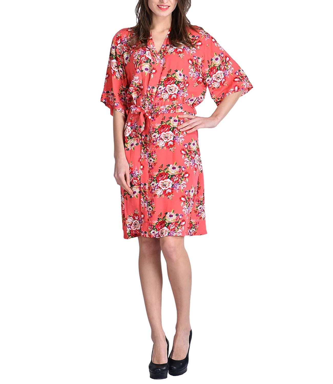 Dressing Gowns Ladies Cotton Satin Kimonos for Women Plus Size Floral Bathrobe