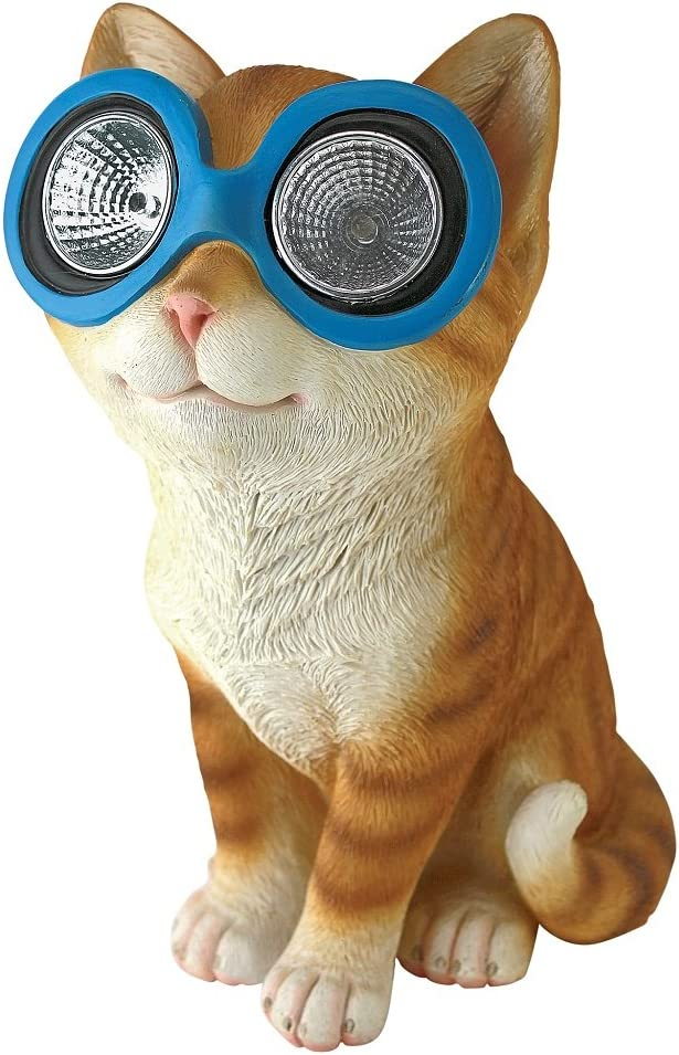 Design Toscano QL58930 Bright Eyes Solar Cat Garden Statue, Full Color