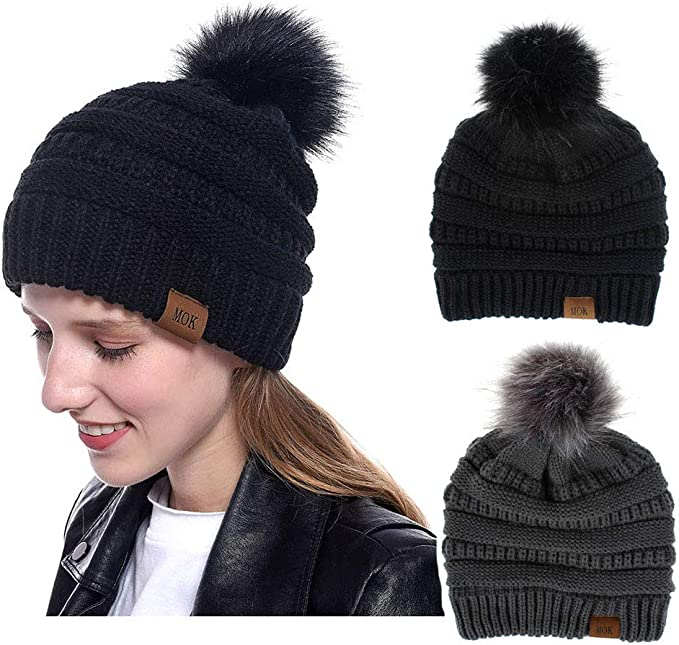 Women Pompom Beanie 2 Pack, Knit Ski Cap Winter Chunky Baggy Hat With Faux Fur Bobble