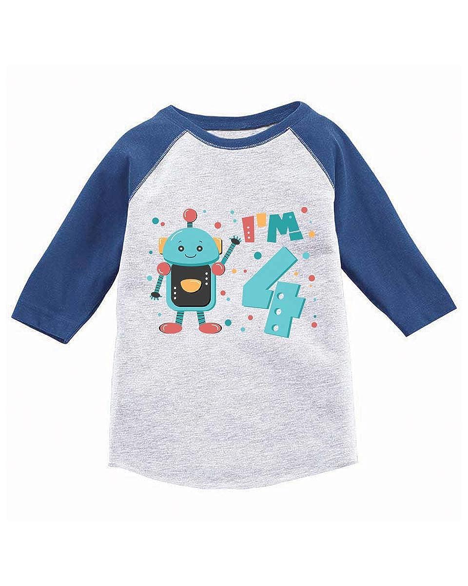 Awkward Styles Robot Birthday Toddler Raglan 4th Birthday Jersey Robot Shirt