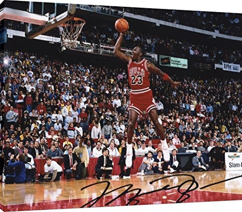 - Framed Print - Basketball Canvas Wall Art: Michael Jordan - Chicago Bulls Dunk Contest Autograph Replica Print (24x36)