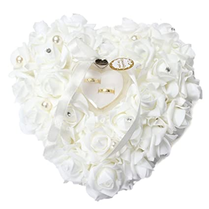 Mystery&Melody Almohada romántica en forma de corazón del anillo de bodas de la boda del amortiguador de la rosa blanca con la almohadilla floral ...