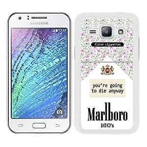 Funda carcasa para Samsung Galaxy J1 paquete de tabaco estampado flores borde blanco