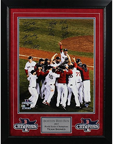 Boston Red Sox Multi Autographed 2013 WS Celebration Vertical 16x20 Photo MLB Auth 11 Sigs Elite Framed - Authentic (Elite Gift Certificates)