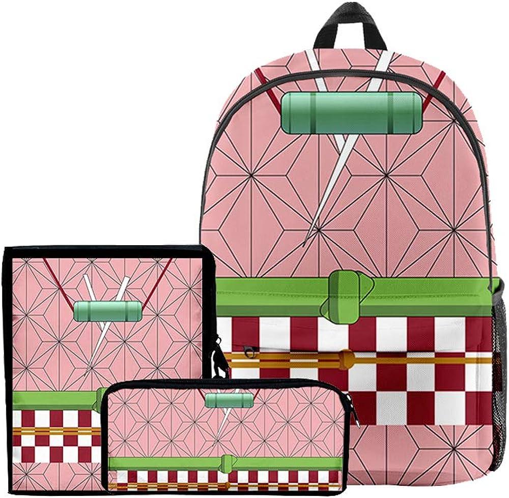 3 in 1 Demon Slayer Backpack for School Teen Girls Boys Lightweight Anime Backpacks Shoulder bag Set for Women School Bags