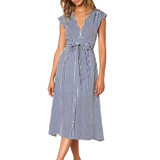 Spring Sale! Women Stripe Dresses Ladies Sexy Backless Button Dress Casual  Party Dress with Belt at Amazon Women s Clothing store  67d45407f4