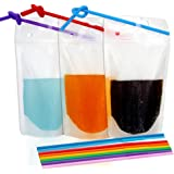 "Tomnk 100pcs Clear Drink Pouches Bags Heavy Duty Hand-held Translucent Reclosable Zipper Stand-up Plastic Pouches Bags Drinking Bags 2.4"" Bottom Gusset with Straws"
