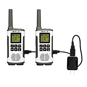 Retevis RT45 2 Way Radios Walkie Talkie Hands Free Call Tone Baby Monitor Private Codes 22 Channel Rechargeable Walkie Talkies(Twin Packs)