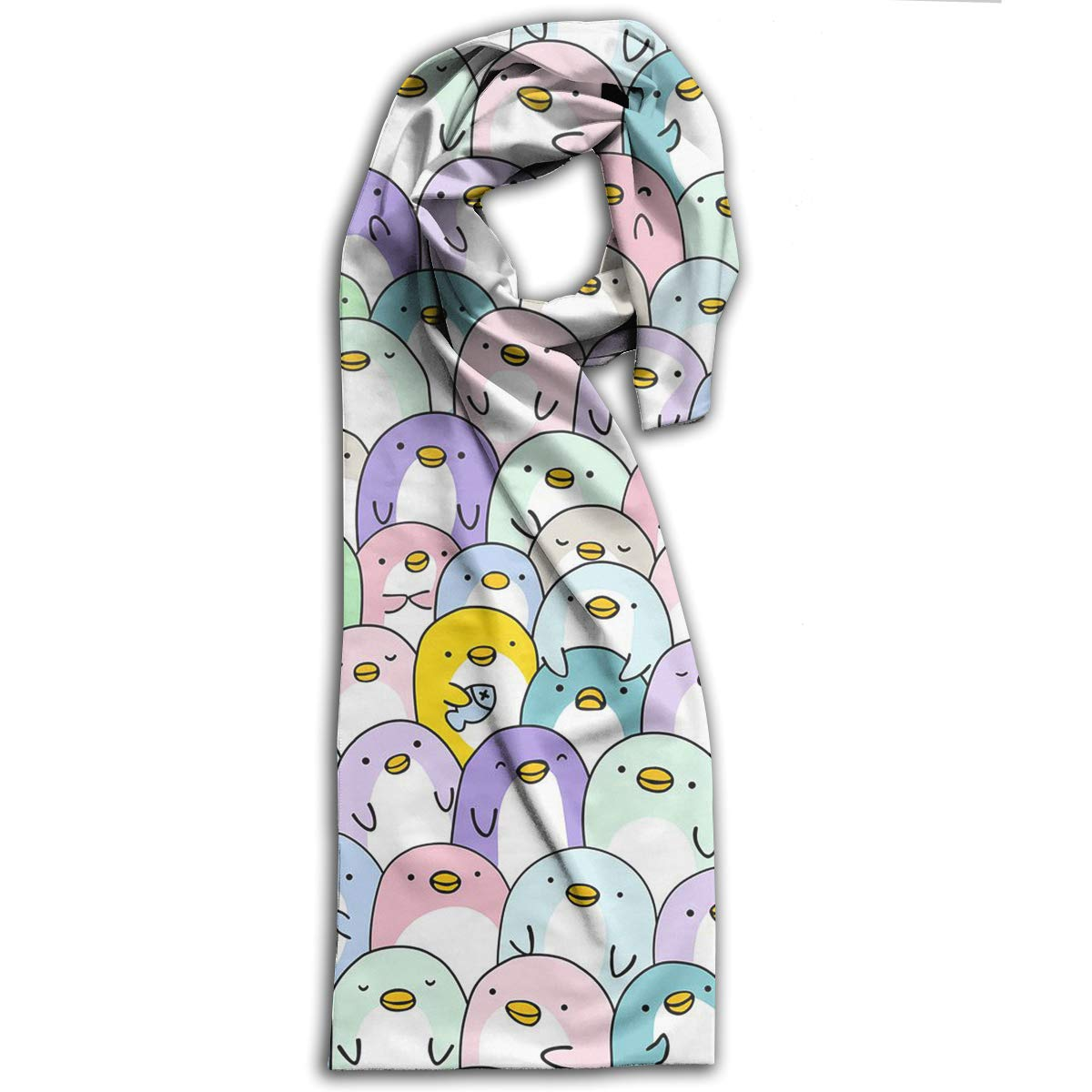 TDynasty Cute Penguins Warm Shawls Scarves Printing Fashion Scarf Shawl Winter Scarf Warm Soft Multi-Purpose for Adult Women Gifts
